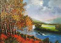 Autumn Birches Along The River Dee